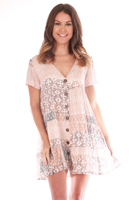 Button Down Baby Doll Printed Dress