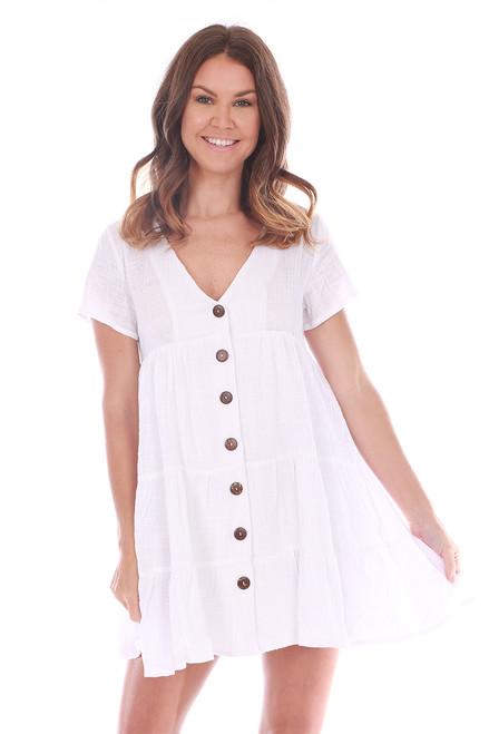 Button Down White Babydoll Dress