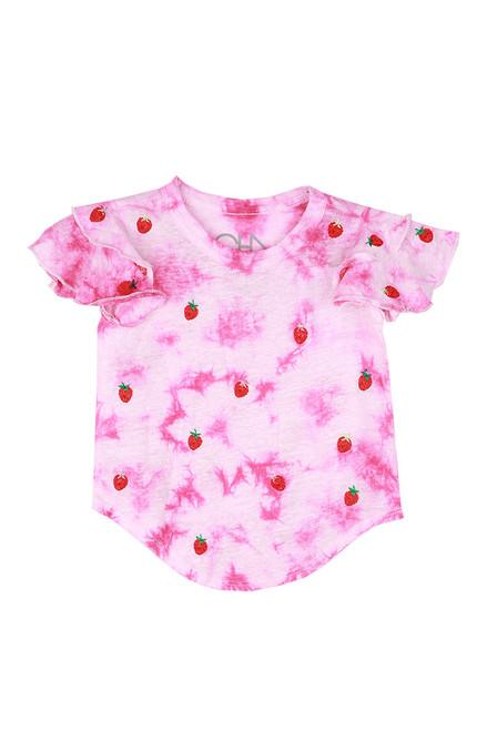 Flutter Sleeve Strawberry Tee (Toddler/Little Kid)