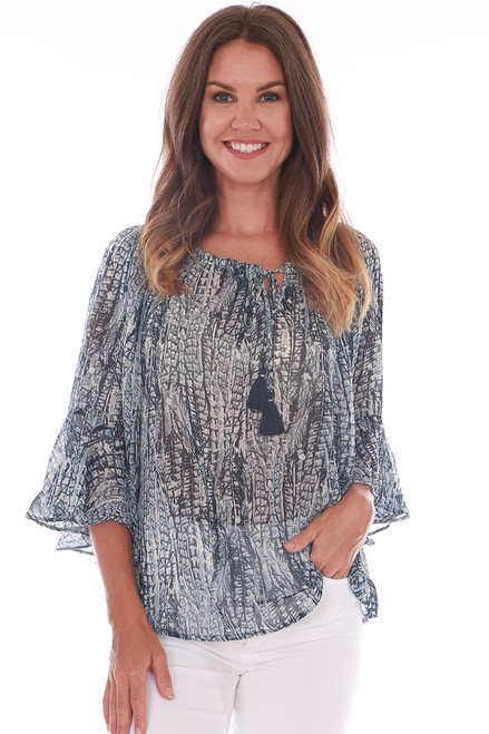 Sheer Wide Neck Blouse