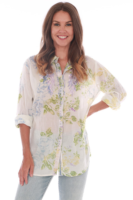 Embroidered Floral L/S Blouse