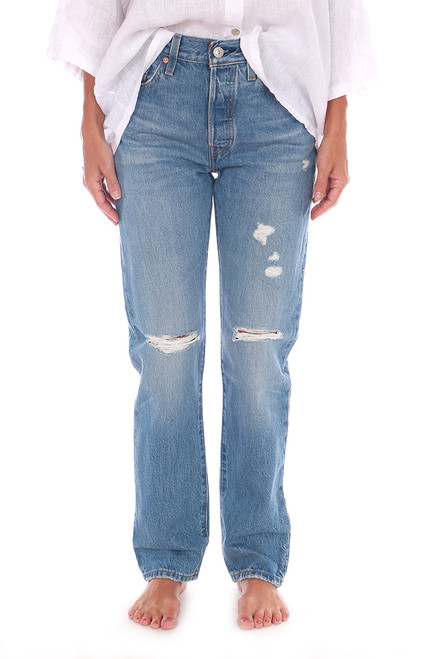 Distressed 501 Mom Jeans