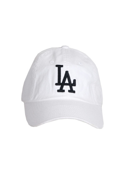 Front shoes white Los Angeles Dodgers Ballpark baseball hat with curved brim, self-fabric adjustable back strap, and a lofted contrast tone Los Angeles Dodgers logo.