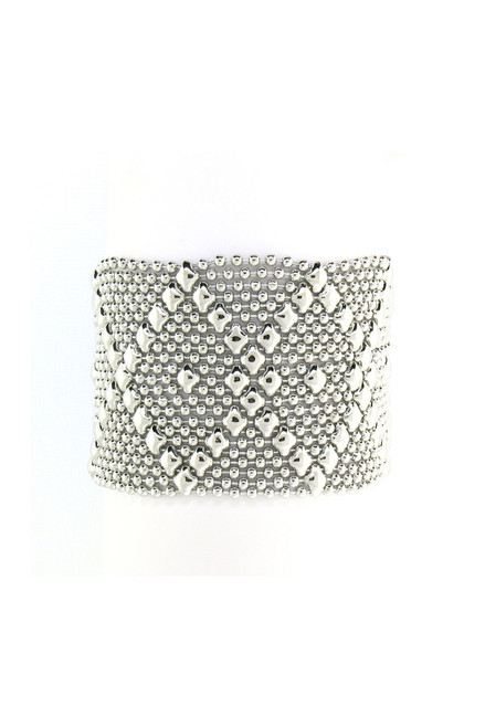 front shows Classic Mesh Design cuff bracelet, Polished Nickel, Snap Closure. Shown closed.