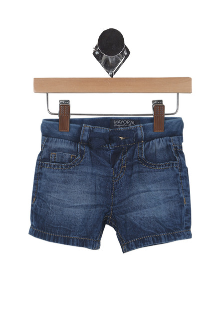 front shows blue denim Bermuda shorts featuring an elastic drawstring waistband with button closure and softest denim material.