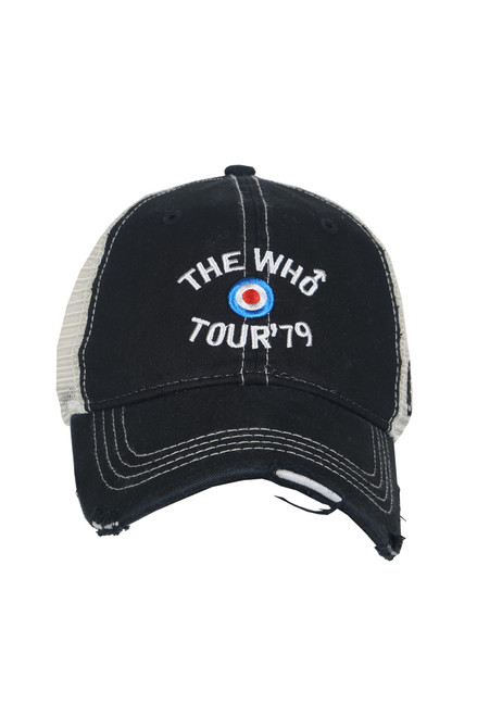 "front shows ""The Who"" band trucker hat featuring a distressed curved brim, mesh sides, adjustable plastic snap back, and embroidered The Who logo at the front."