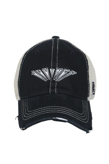 Front shows black trucker hat featuring a distressed curved brim, mesh sides, adjustable plastic snap back, and embroidered Journey logo at the front.