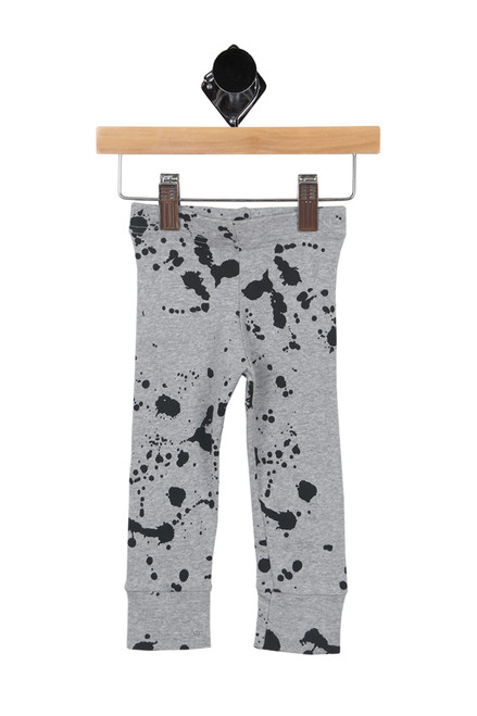 front shows grey and black paint splat sweat pants with elastic waistband, wide ankle cuff, true to size.