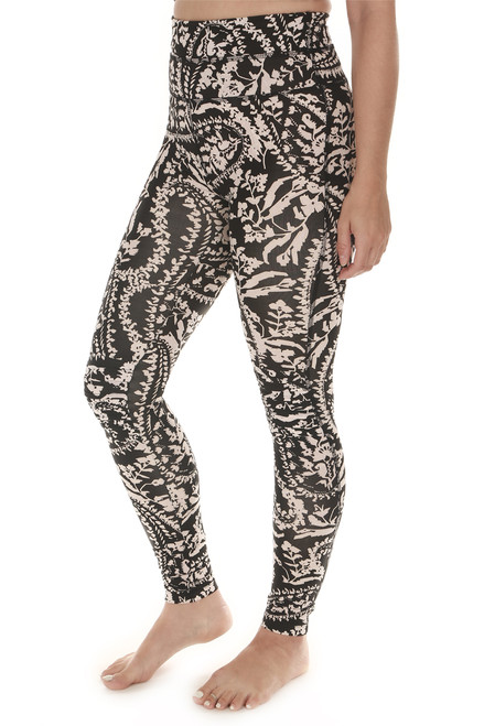 side shows printed city slicker leggings in black combo print print features black background with ivory and light beach floral design very high waisted, skinny legging