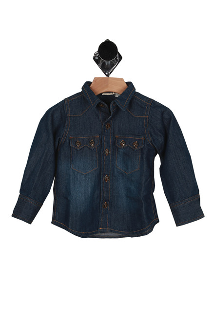 front has dark denim material with slight fading at stomach area, collar, darker rust stitching, button up closure and 2 front pockets at left and right  side.