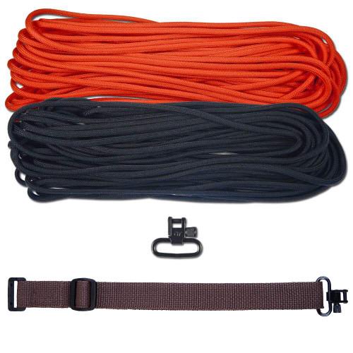 """DIY 43"""" 550 Paracord Strap - Black & Neon Orange w/ Brown Webbing"""