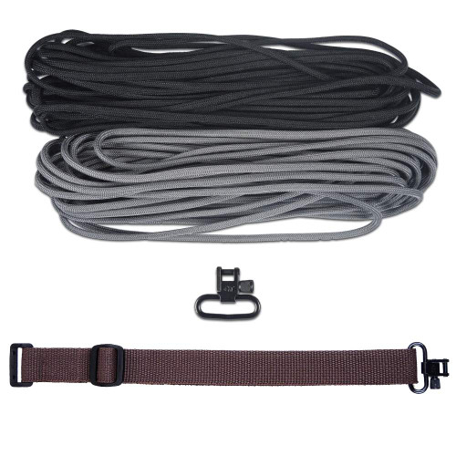 "DIY 43"" 550 Paracord Strap - Black & Charcoal gray w/ Brown Webbing"