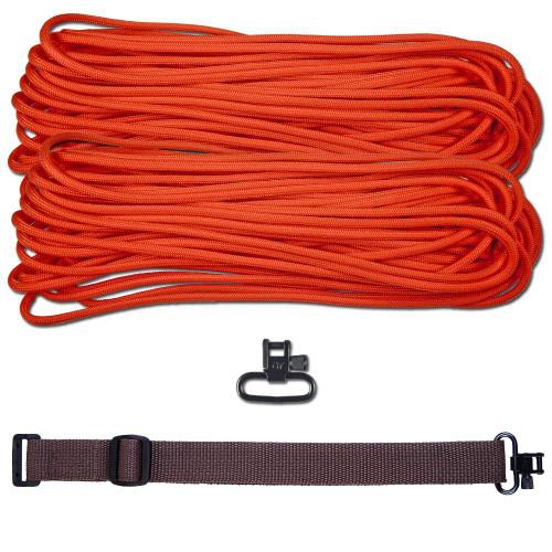 """DIY 43"""" 550 Paracord Strap - Neon Orange w/ Brown Webbing"""