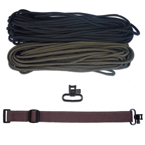 "DIY 43"" 550 Paracord Strap - Black & Olive Drab w/ Brown Webbing"