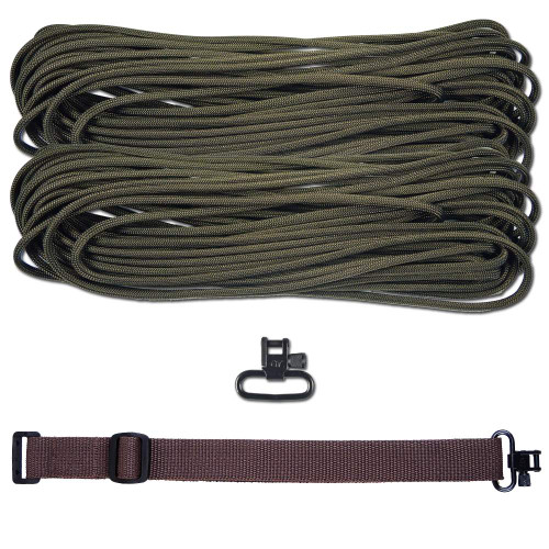 "DIY 43"" 550 Paracord Strap - Olive Drab w/ Brown Webbing"