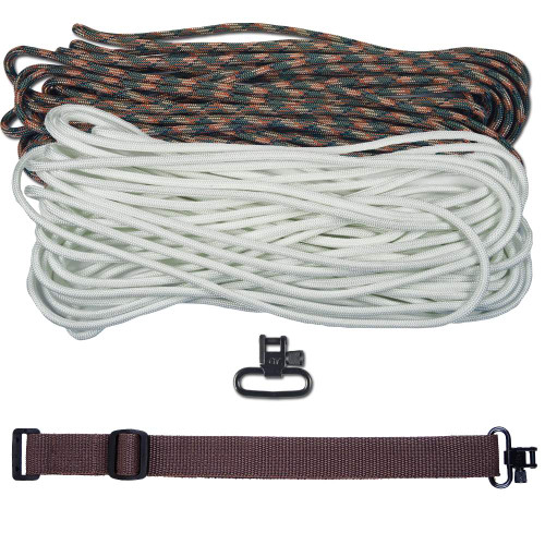 "DIY 43"" 550 Paracord Strap - White & Woodland Camo w/ Brown Webbing"