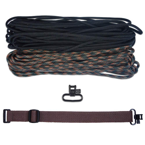 "DIY 43"" 550 Paracord Strap - Black & Woodland Camo w/ Brown Webbing"