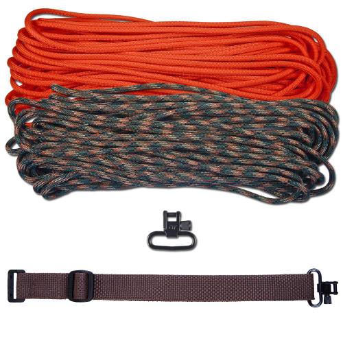 """DIY 43"""" 550 Paracord Strap - Neon Orange & Woodland Camo w/ Brown Webbing"""