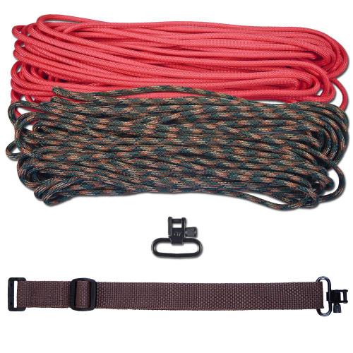 """DIY 43"""" 550 Paracord Strap - Pink & Woodland Camo w/ Brown Webbing"""