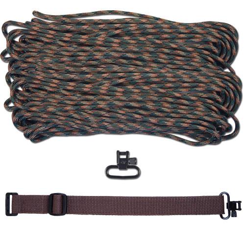 """DIY 43"""" 550 Paracord Strap - Woodland Camo w/ Brown Webbing"""