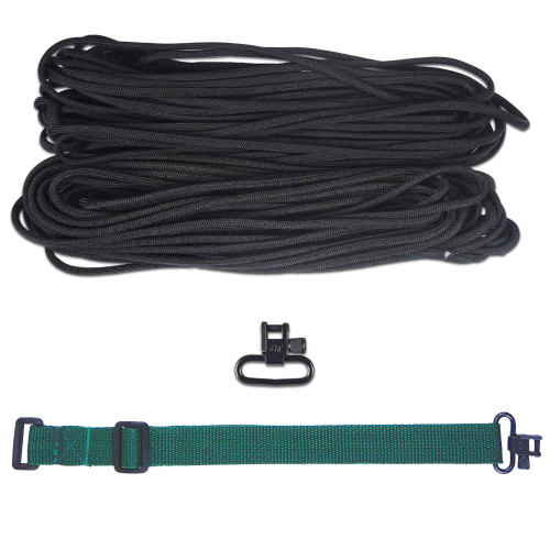 "DIY 43"" 550 Paracord Strap - Black w/ Green Webbing"