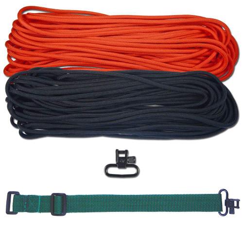 "DIY 43"" 550 Paracord Strap - Black & Neon Orange w/ Green Webbing"