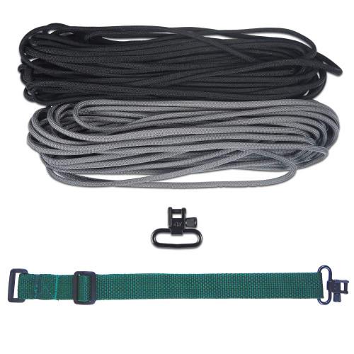 "DIY 43"" 550 Paracord Strap - Black & Charcoal gray w/ Green Webbing"