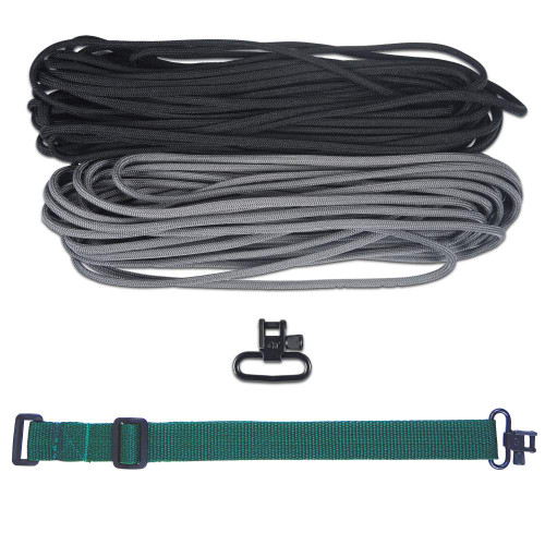 "DIY 43"" 550 Paracord Strap - Black & Charcoal gray w/ Green Webbing"