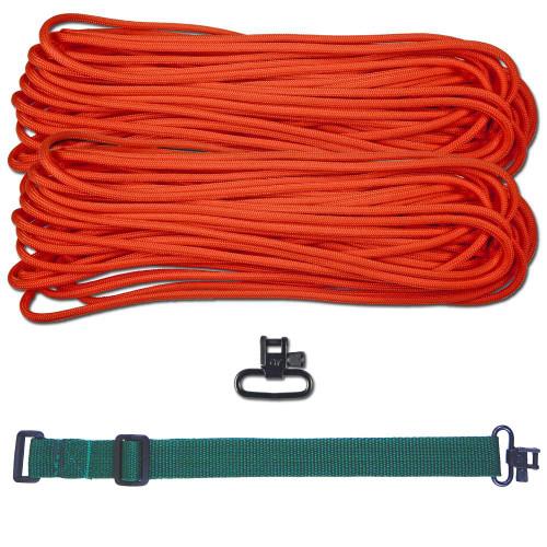 """DIY 43"""" 550 Paracord Strap - Neon Orange w/ Green Webbing"""