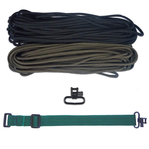 "DIY 43"" 550 Paracord Strap - Black & Olive Drab w/ Green Webbing"