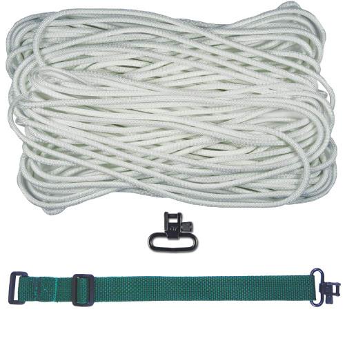 "DIY 43"" 550 Paracord Strap - White w/ Green Webbing"