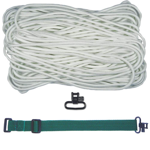 "DIY 43"" 550 Paracord Strap - White w/ Green Webbing"