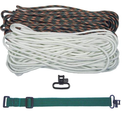 "DIY 43"" 550 Paracord Strap - White & Woodland Camo w/ Green Webbing"