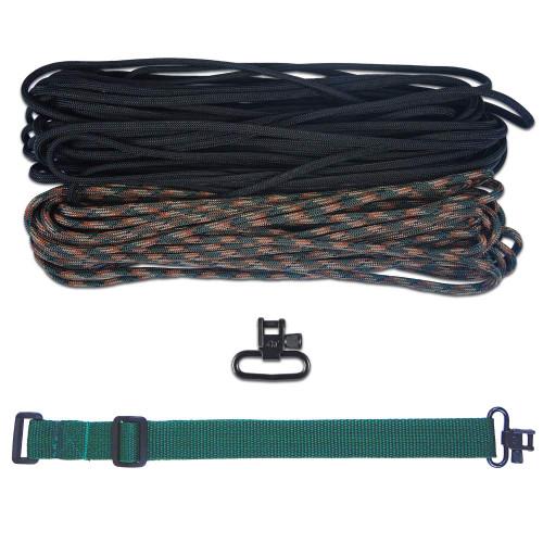 "DIY 43"" 550 Paracord Strap - Black & Woodland Camo w/ Green Webbing"