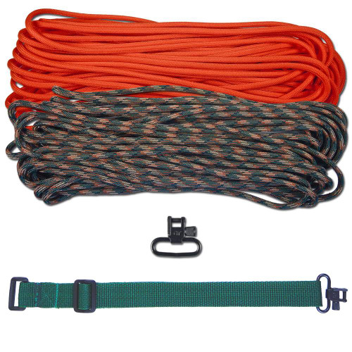 "DIY 43"" 550 Paracord Strap - Neon Orange & Woodland Camo w/ Green Webbing"