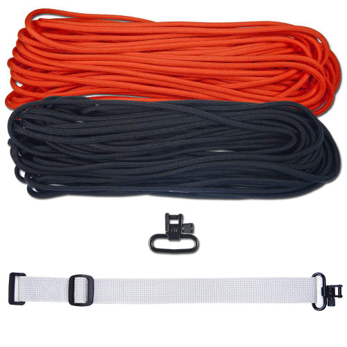 """DIY 43"""" 550 Paracord Strap - Black & Neon Orange w/ gray Webbing"""
