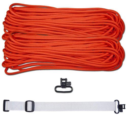"""DIY 43"""" 550 Paracord Strap - Neon Orange w/ gray Webbing"""