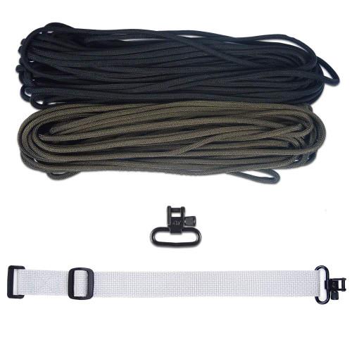 "DIY 43"" 550 Paracord Strap - Black & Olive Drab w/ gray Webbing"