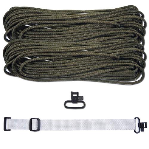 "DIY 43"" 550 Paracord Strap - Olive Drab w/ gray Webbing"
