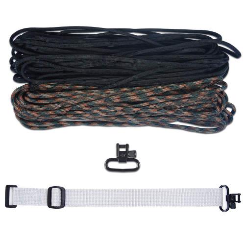 """DIY 43"""" 550 Paracord Strap - Black & Woodland Camo w/ gray Webbing"""