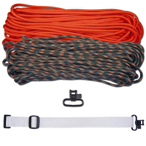 """DIY 43"""" 550 Paracord Strap - Neon Orange & Woodland Camo w/ gray Webbing"""