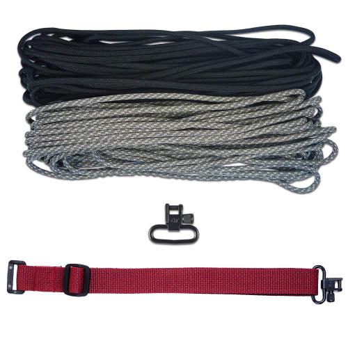 "DIY 43"" 550 Paracord Strap - Black & ACU Digital Camo w/ Maroon Webbing"