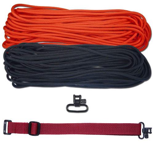 """DIY 43"""" 550 Paracord Strap - Black & Neon Orange w/ Maroon Webbing"""
