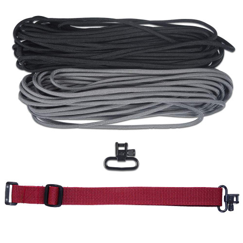 "DIY 43"" 550 Paracord Strap - Black & Charcoal gray w/ Maroon Webbing"
