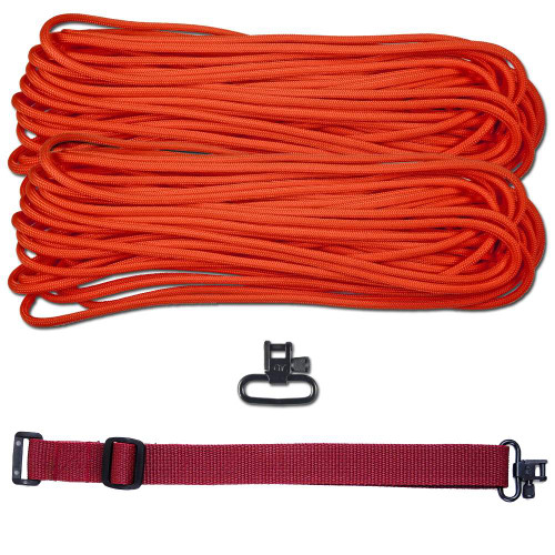 "DIY 43"" 550 Paracord Strap -  Neon Orange w/ Maroon Webbing"