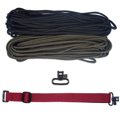 "DIY 43"" 550 Paracord Strap - Black & Olive Drab w/ Maroon Webbing"
