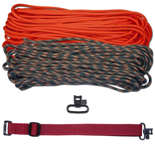 "DIY 43"" 550 Paracord Strap - Neon Orange & Woodland Camo w/ Maroon Webbing"