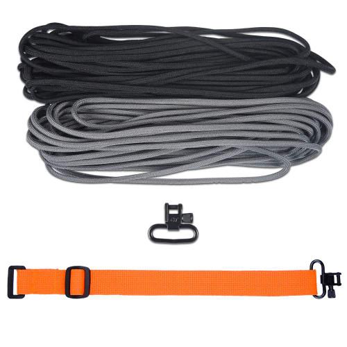 "DIY 43"" 550 Paracord Strap - Black & Charcoal gray w/ Orange Webbing"