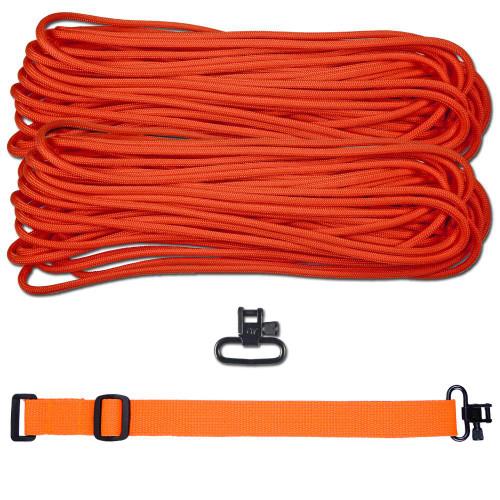 """DIY 43"""" 550 Paracord Strap - Neon Orange w/ Orange Webbing"""