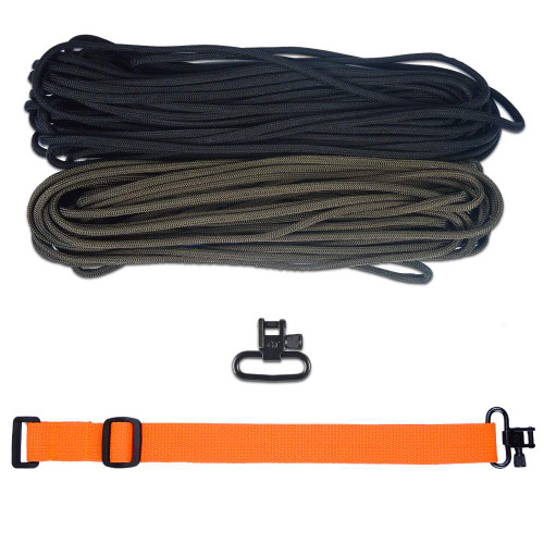 "DIY 43"" 550 Paracord Strap - Black & Olive Drab w/ Orange Webbing"